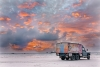 Orange Sky laundry vehicle with artworks by Lockhart River artist. Image Orange Sky Australia.