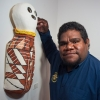 Nephi Denham with his Bagu in Clay Stories. Image: Coffs Harbour Regional Gallery
